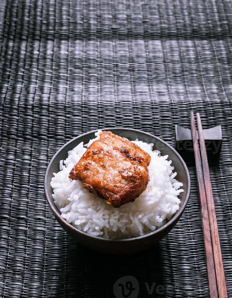 rijst en varkensvlees van voedsel stijlvol foto