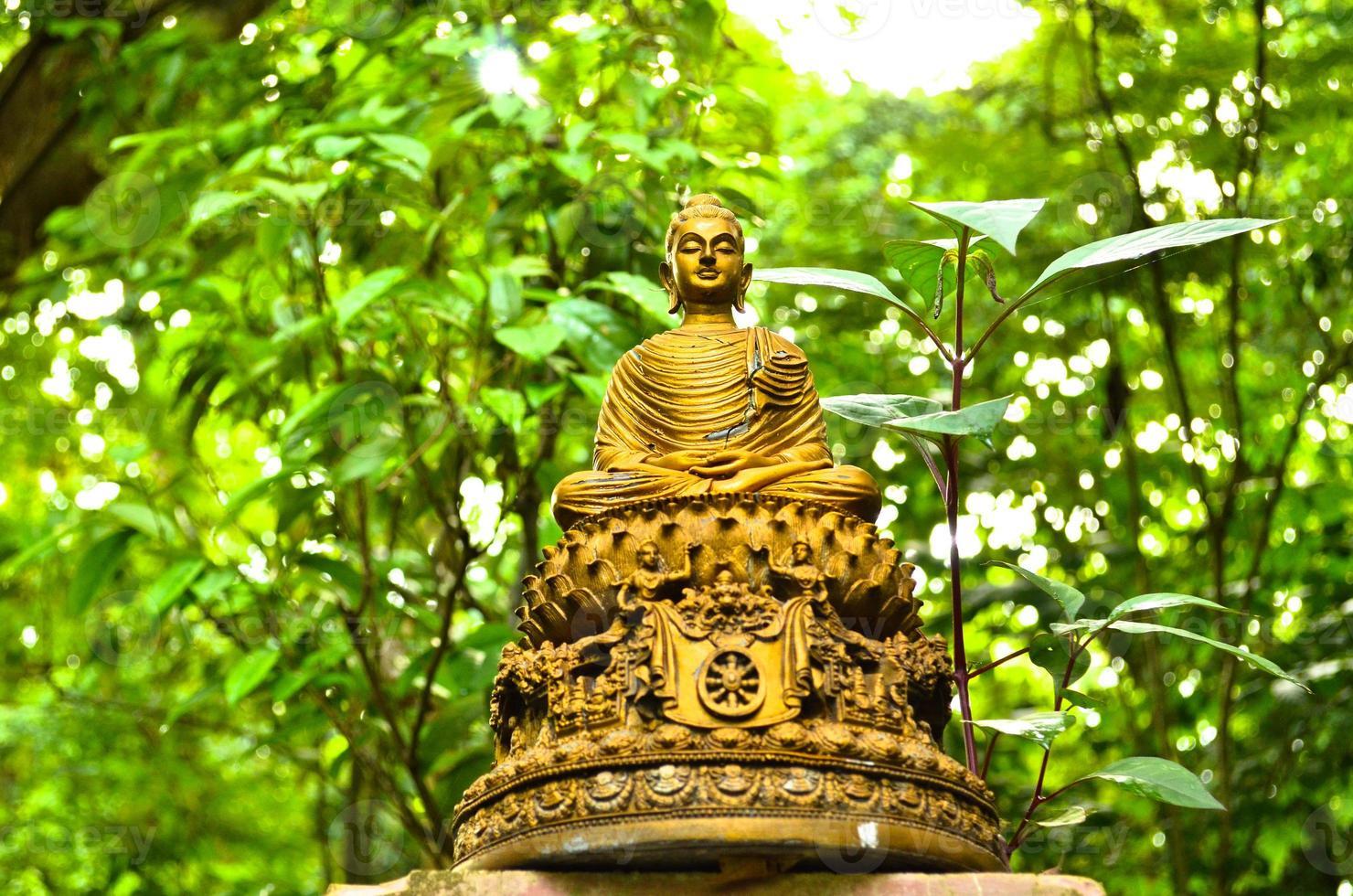 "het standbeeldzonsondergang van Boedha in ""wat-umong, chiang MAI - Thailand foto"