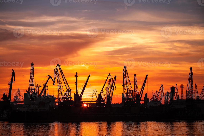 zwarte silhouetten van kranen en vrachtschepen in varna poort foto