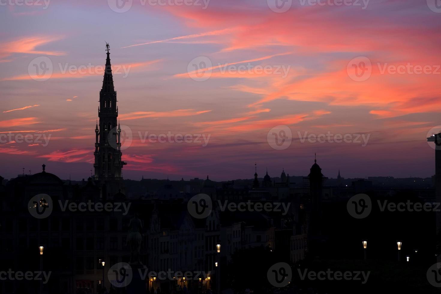 kathedraal silhouet bij zonsondergang, Brussel, België foto