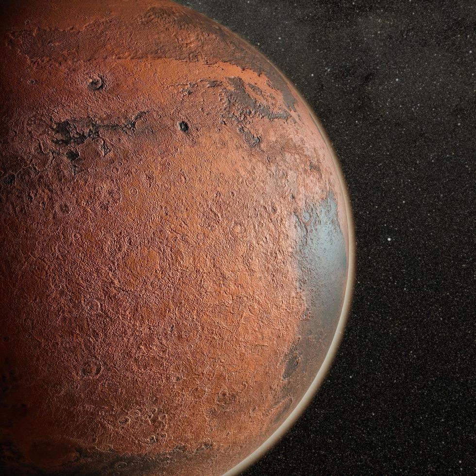 rode planeet in de verre ruimte foto