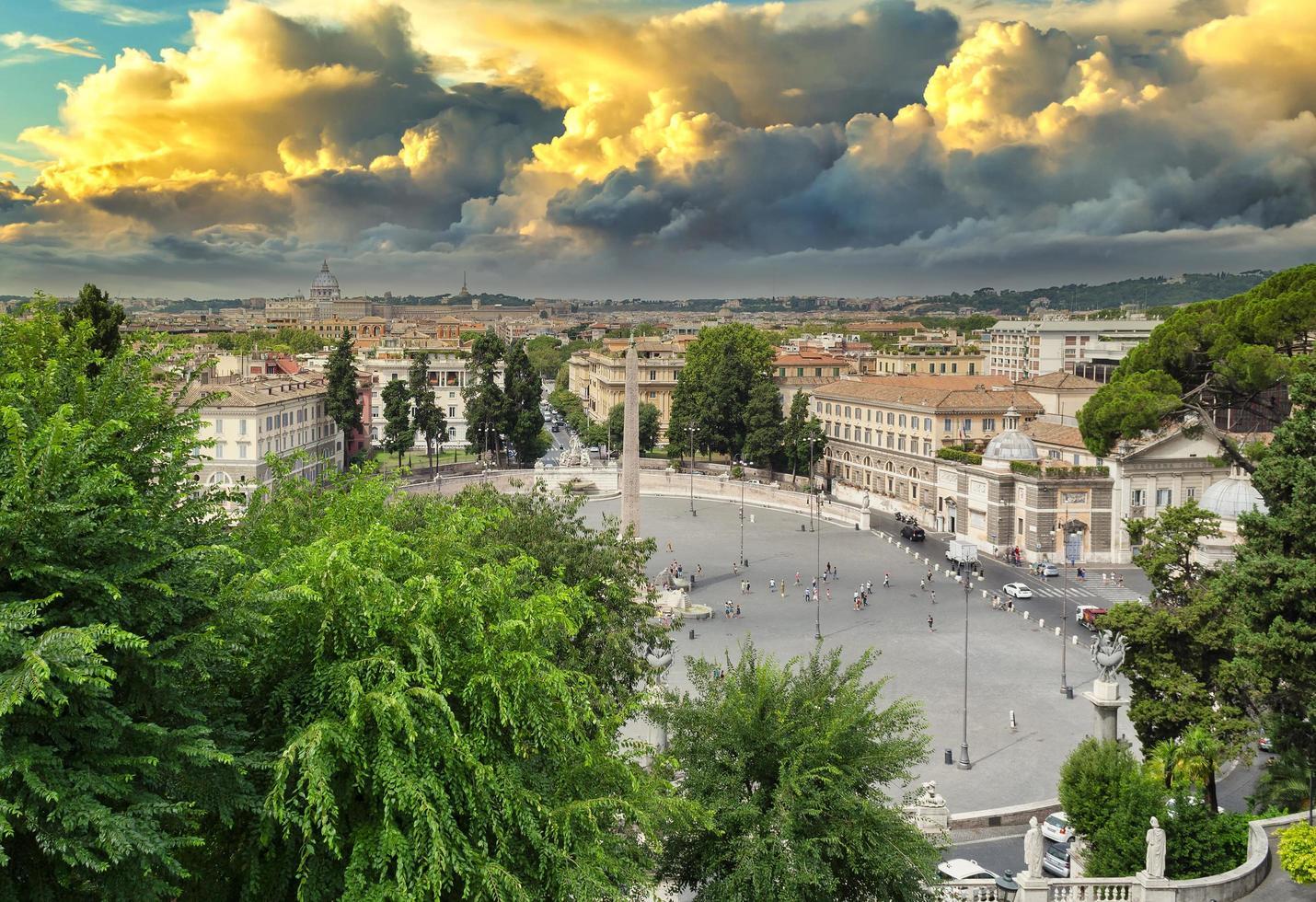 overzicht van de Piazza del Popolo in Rome foto