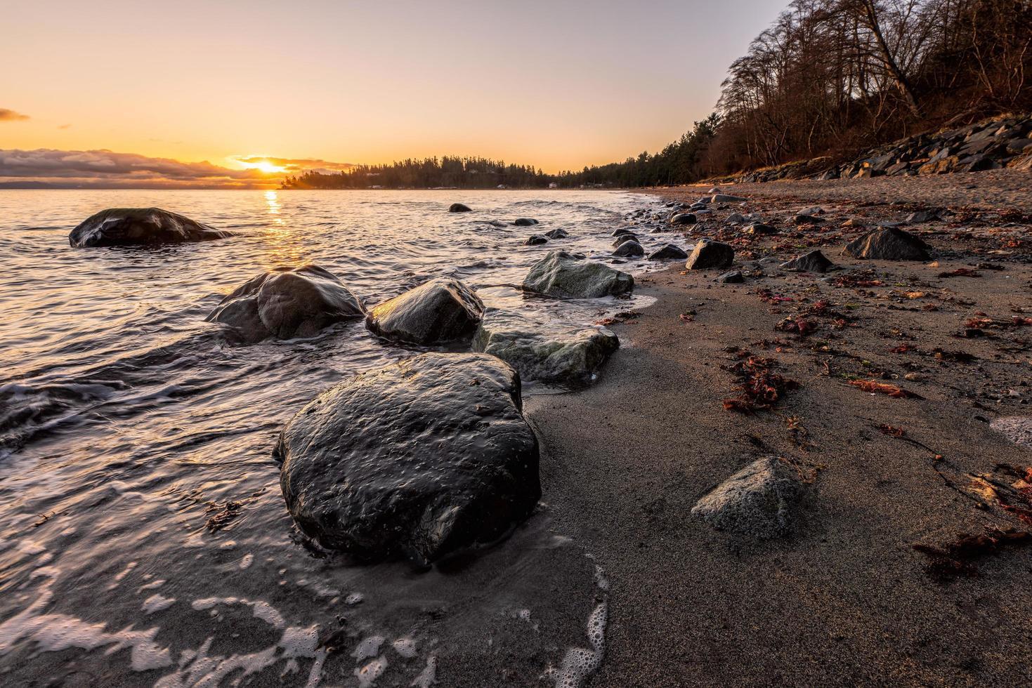 grijze rotsen aan kust tijdens zonsondergang foto