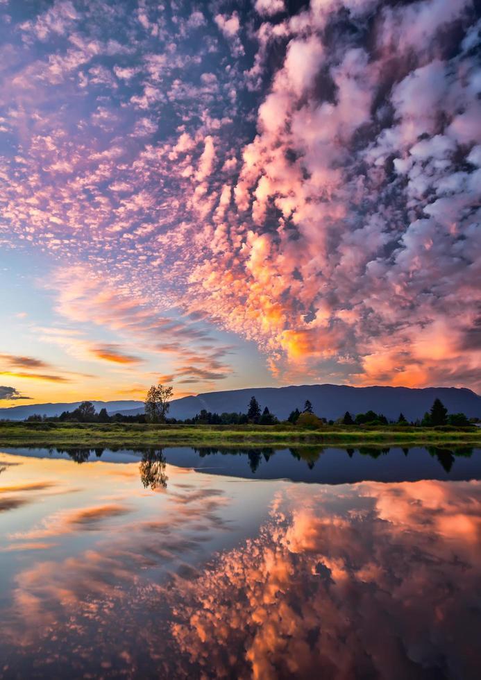 wolk bedekt landschap bij zonsondergang foto