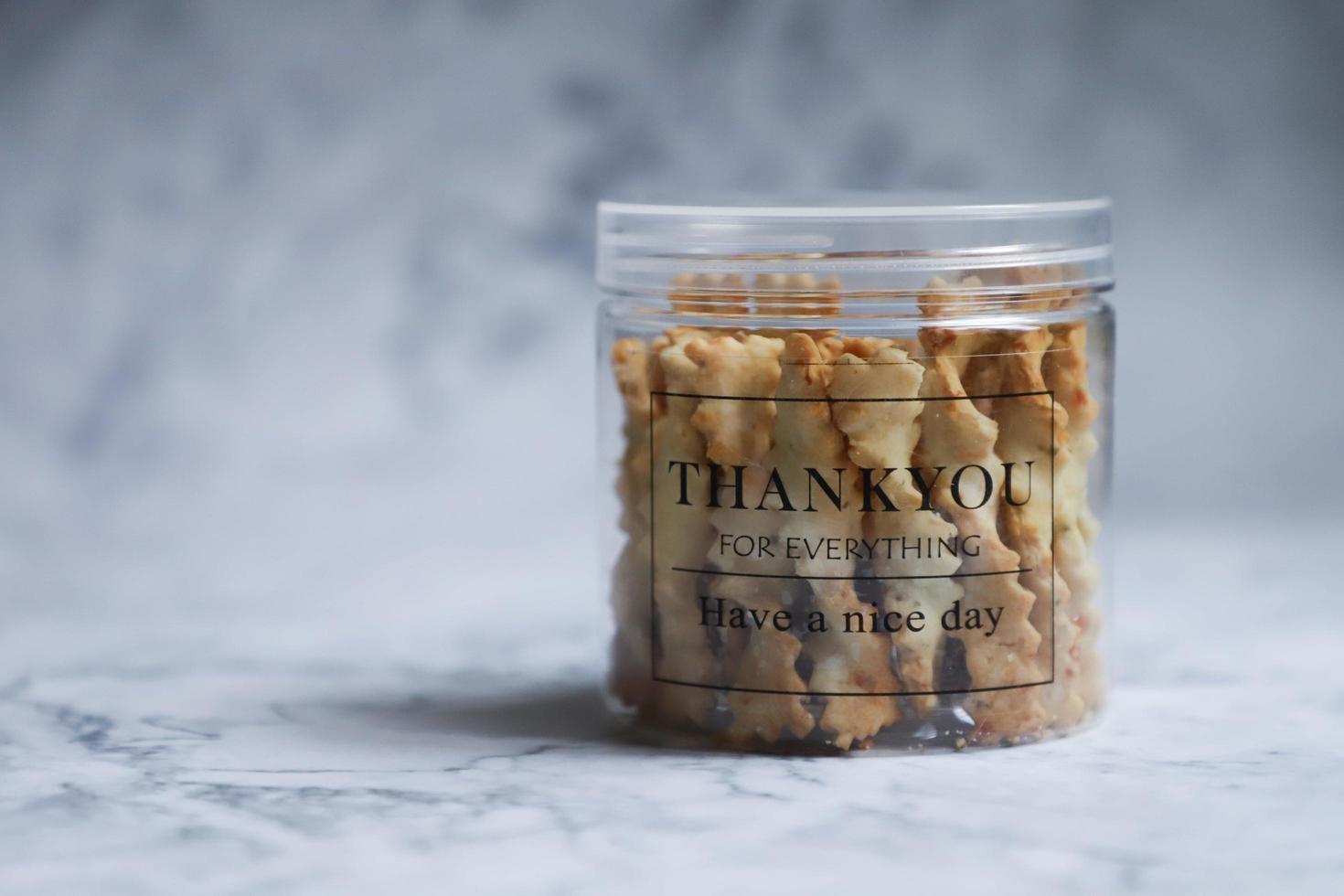 dank u geschenk van pot met koekjes foto