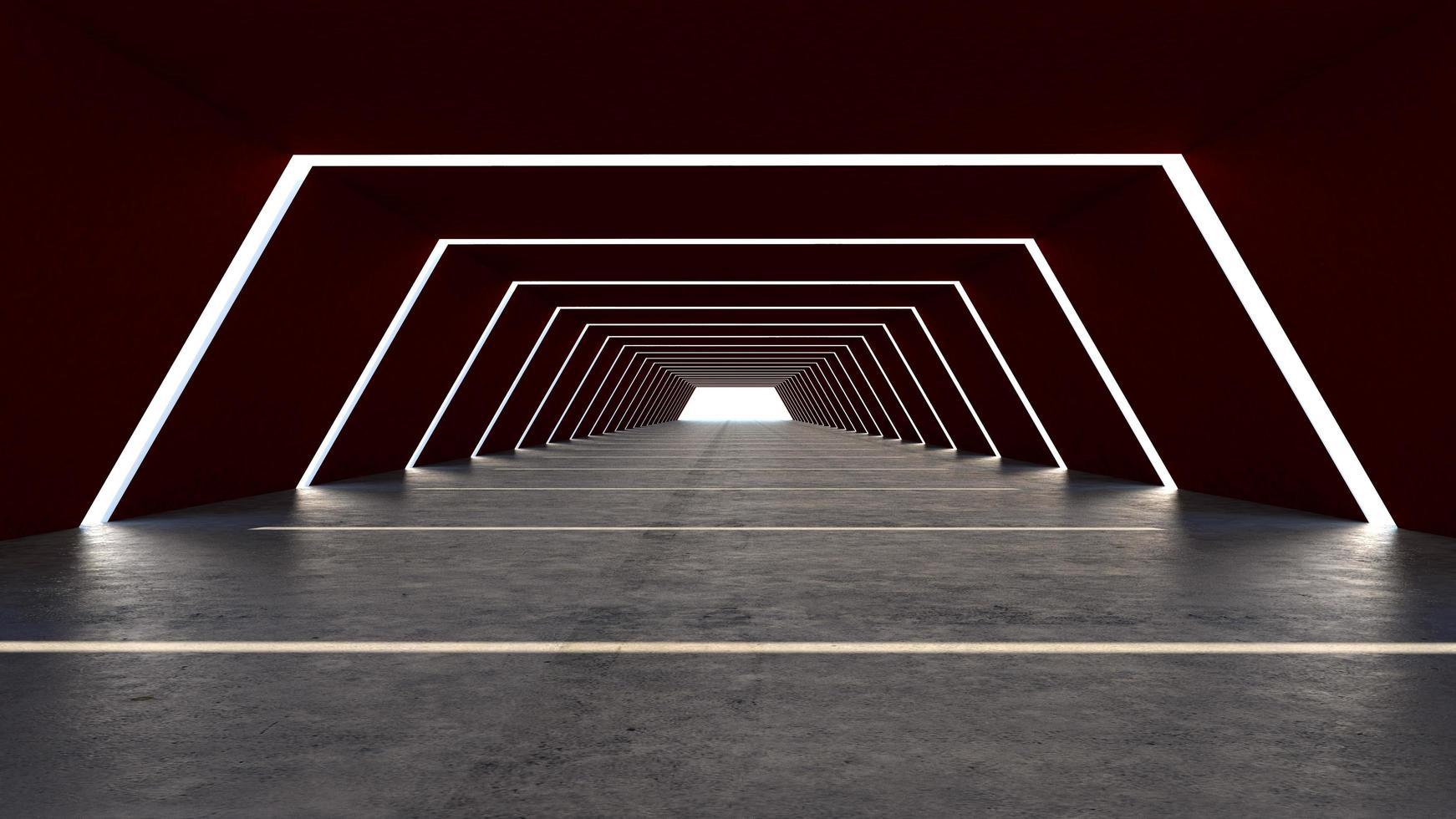een 3D render van een abstracte hal foto