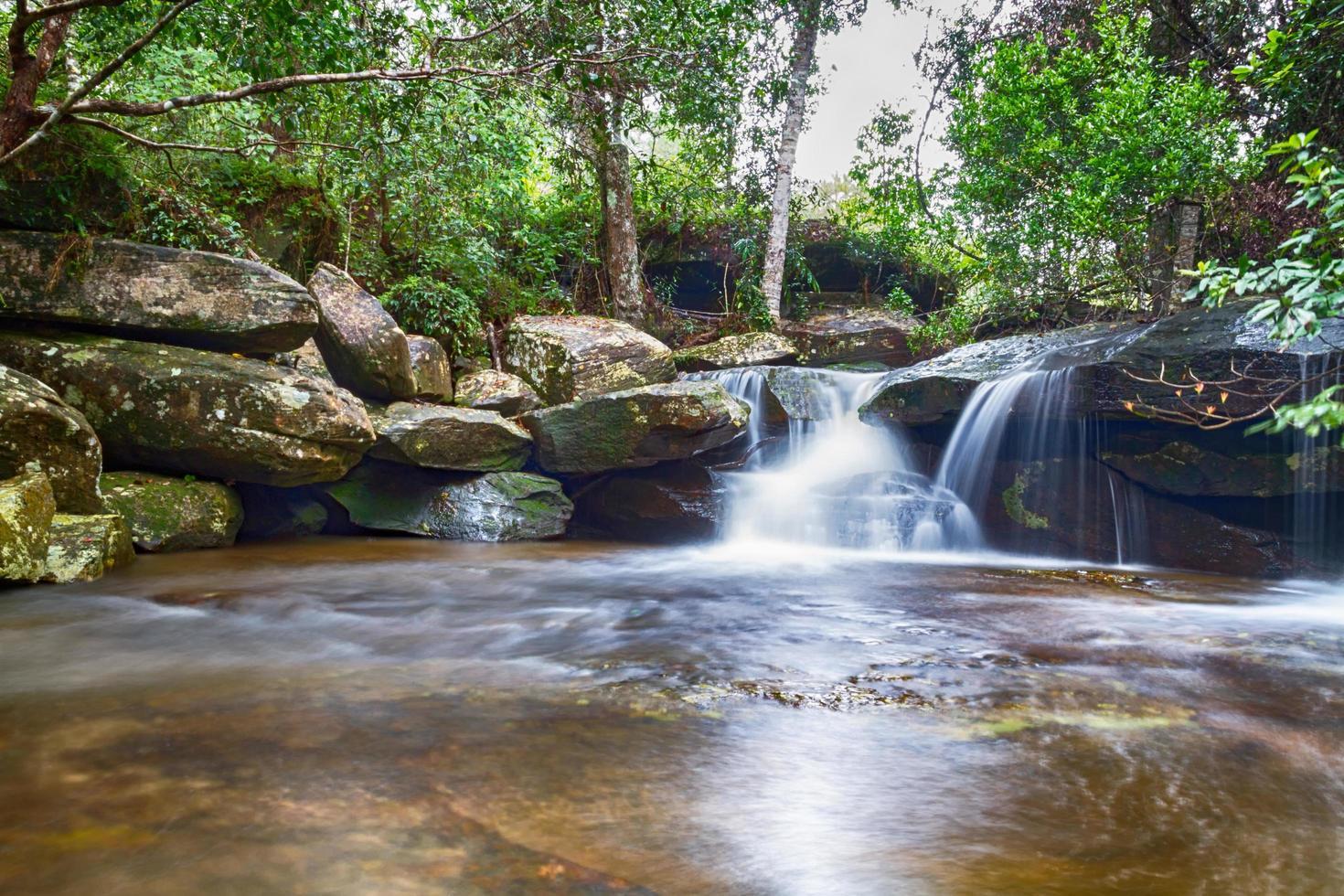 waterval in diep bos in Thailand foto