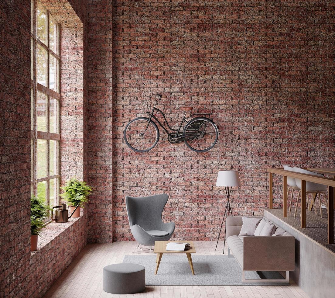 woonkamer in industriële stijl met moderne inrichting foto