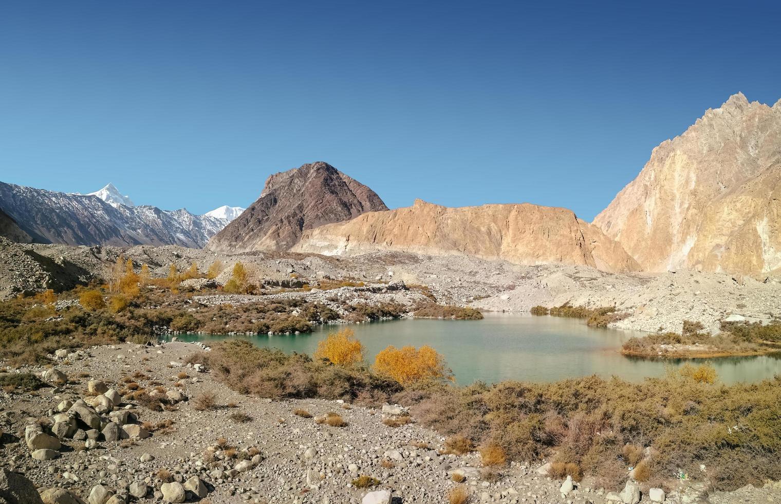 landschaps mening van ijzig meer in Pakistan foto