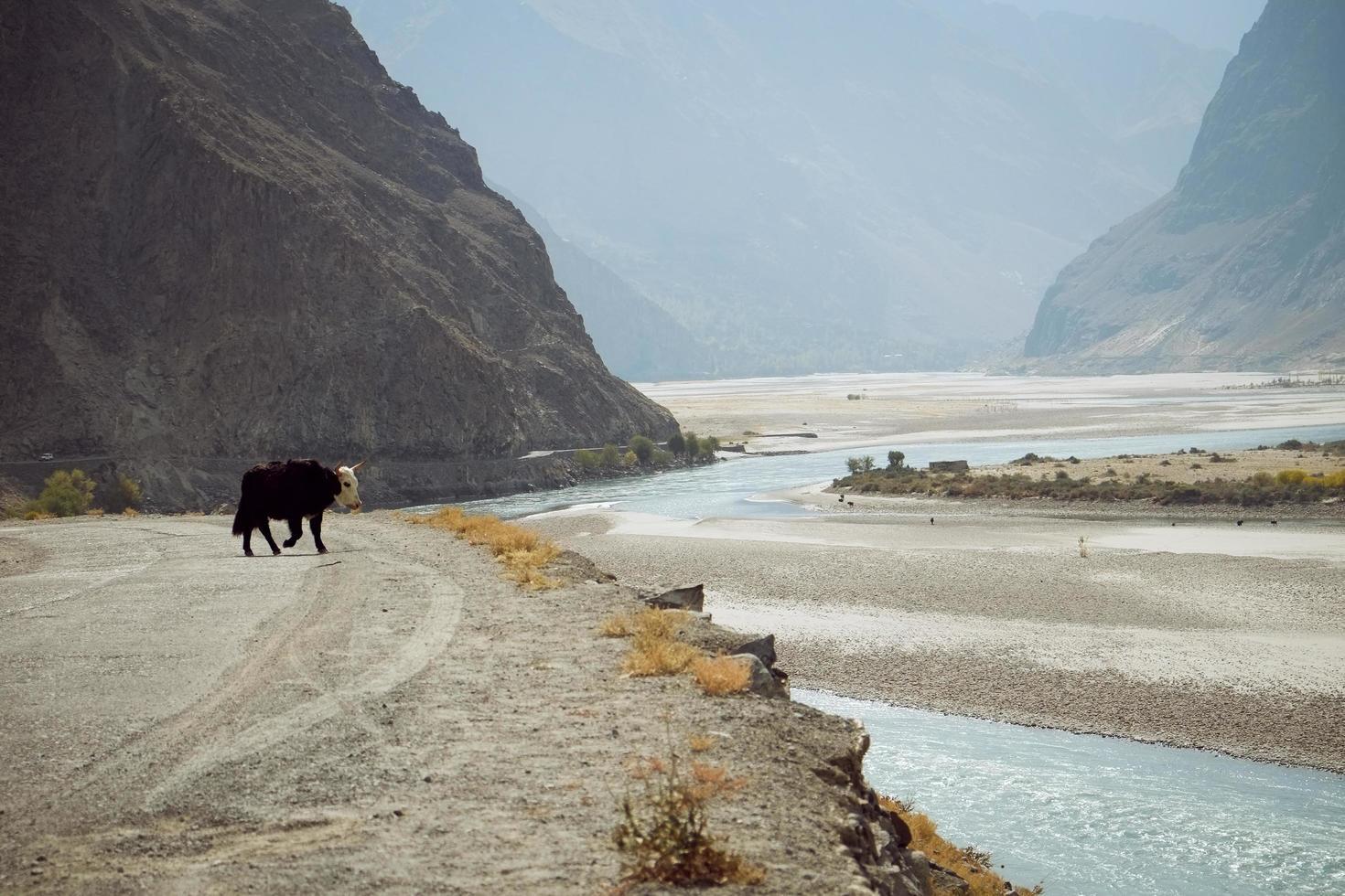 rivier stroomt door bergachtig gebied in skardu, pakistan foto