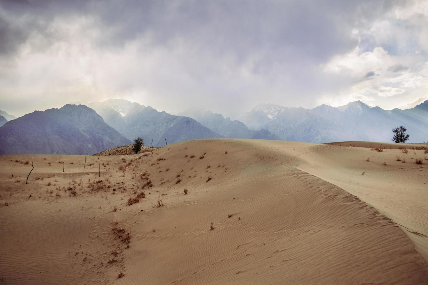 uitzicht op de zonsondergang in de woestijn foto