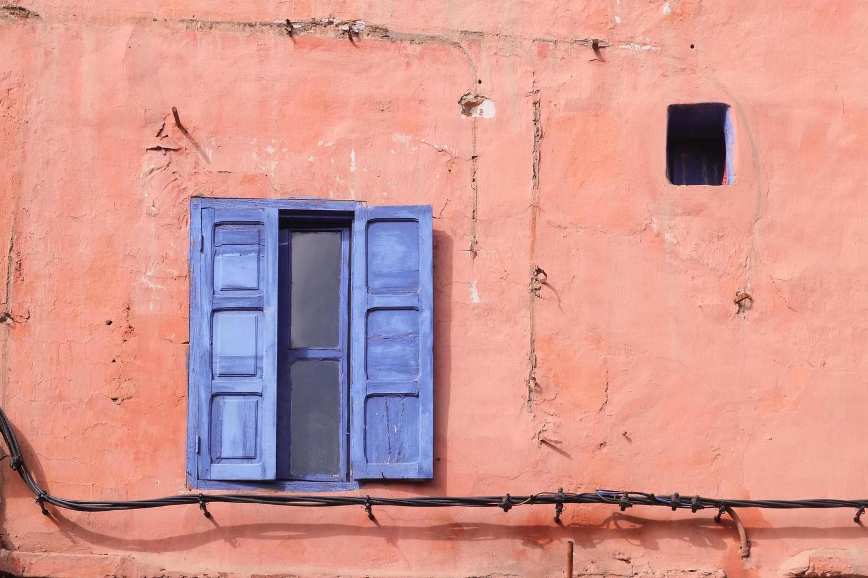 blauw houten raam foto