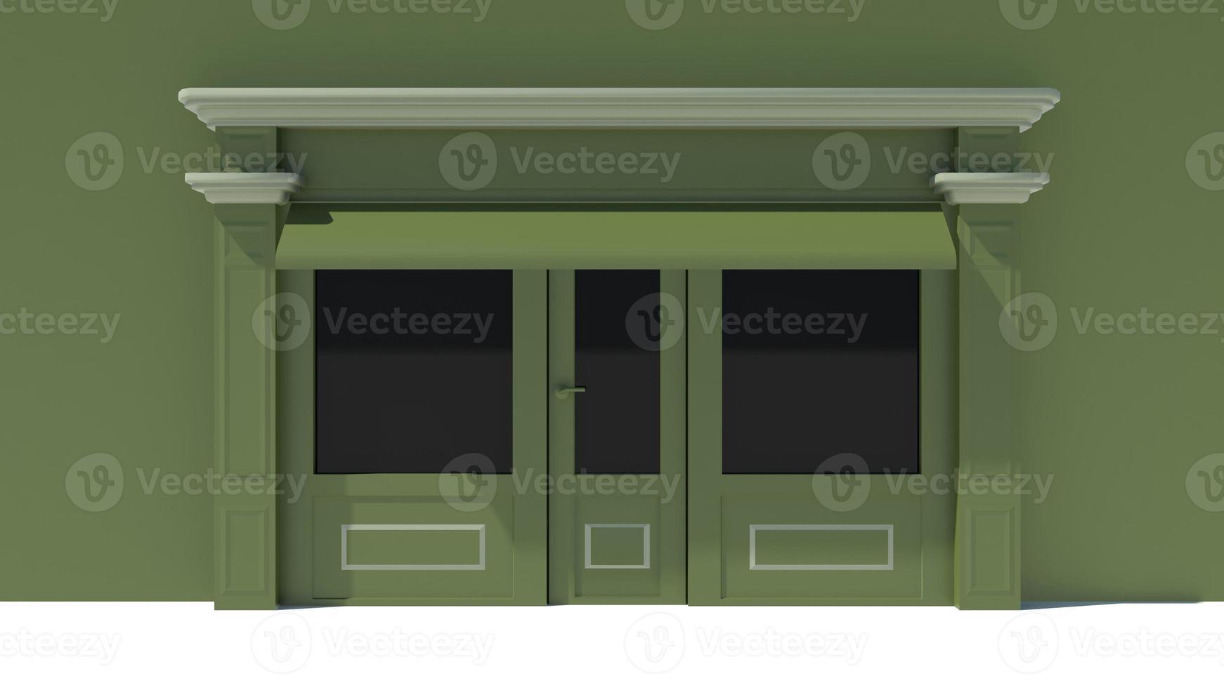 zonnig winkelpui met grote raampartijen met witte en groene winkelgevel foto