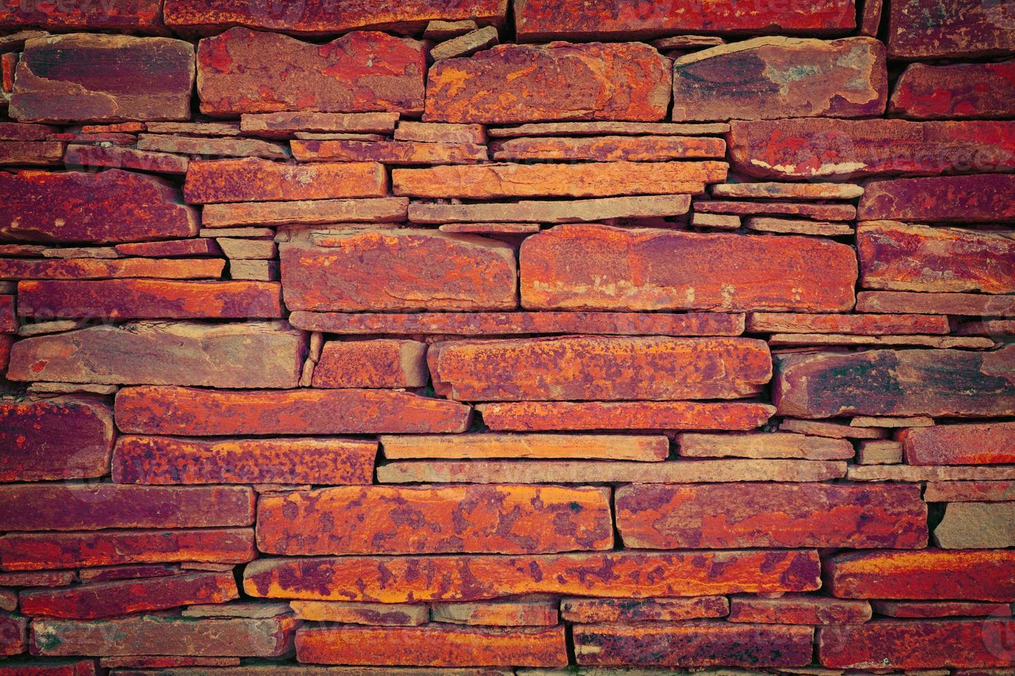grunge vintage muur van stenen tegels foto