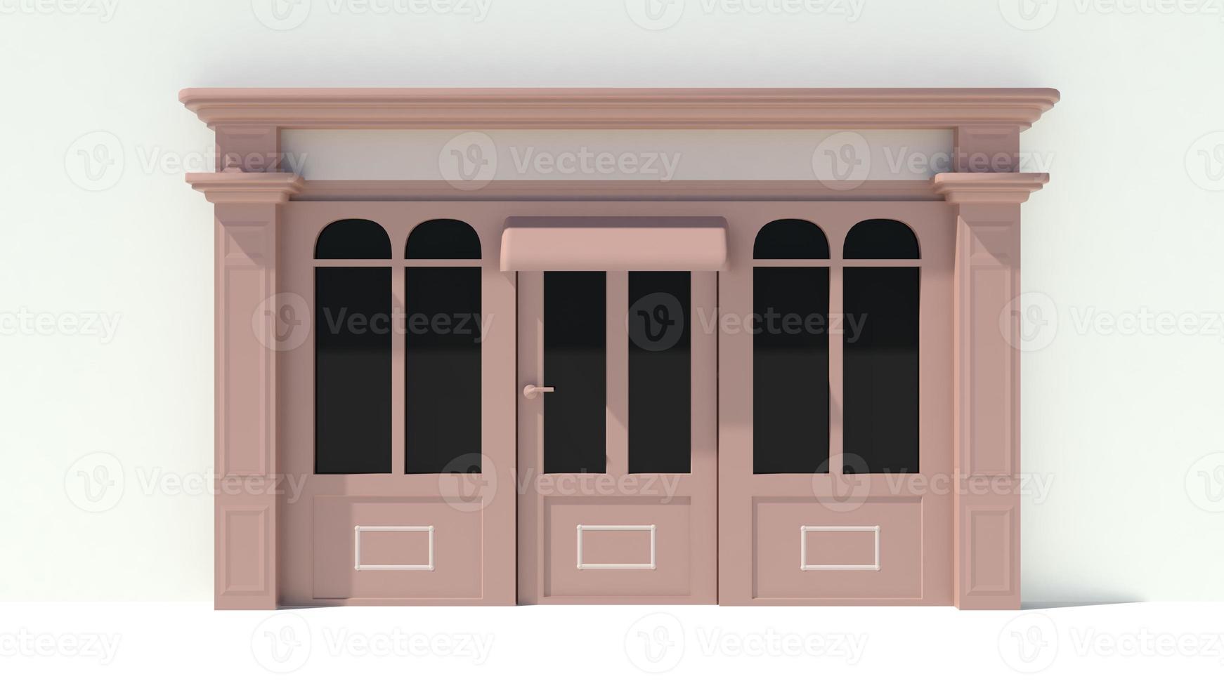 zonnig winkelpui met grote ramen met witte en bruine winkelgevel foto