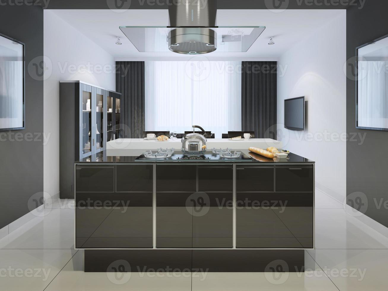 idee van eilandbar bij techno-keuken foto