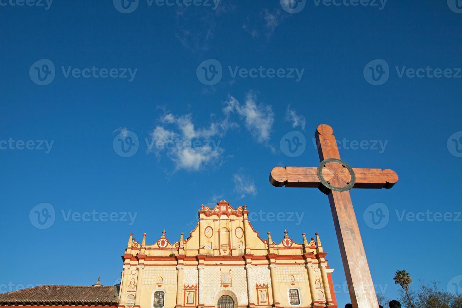 kathedraal van san cristobal, chiapas, mexico foto