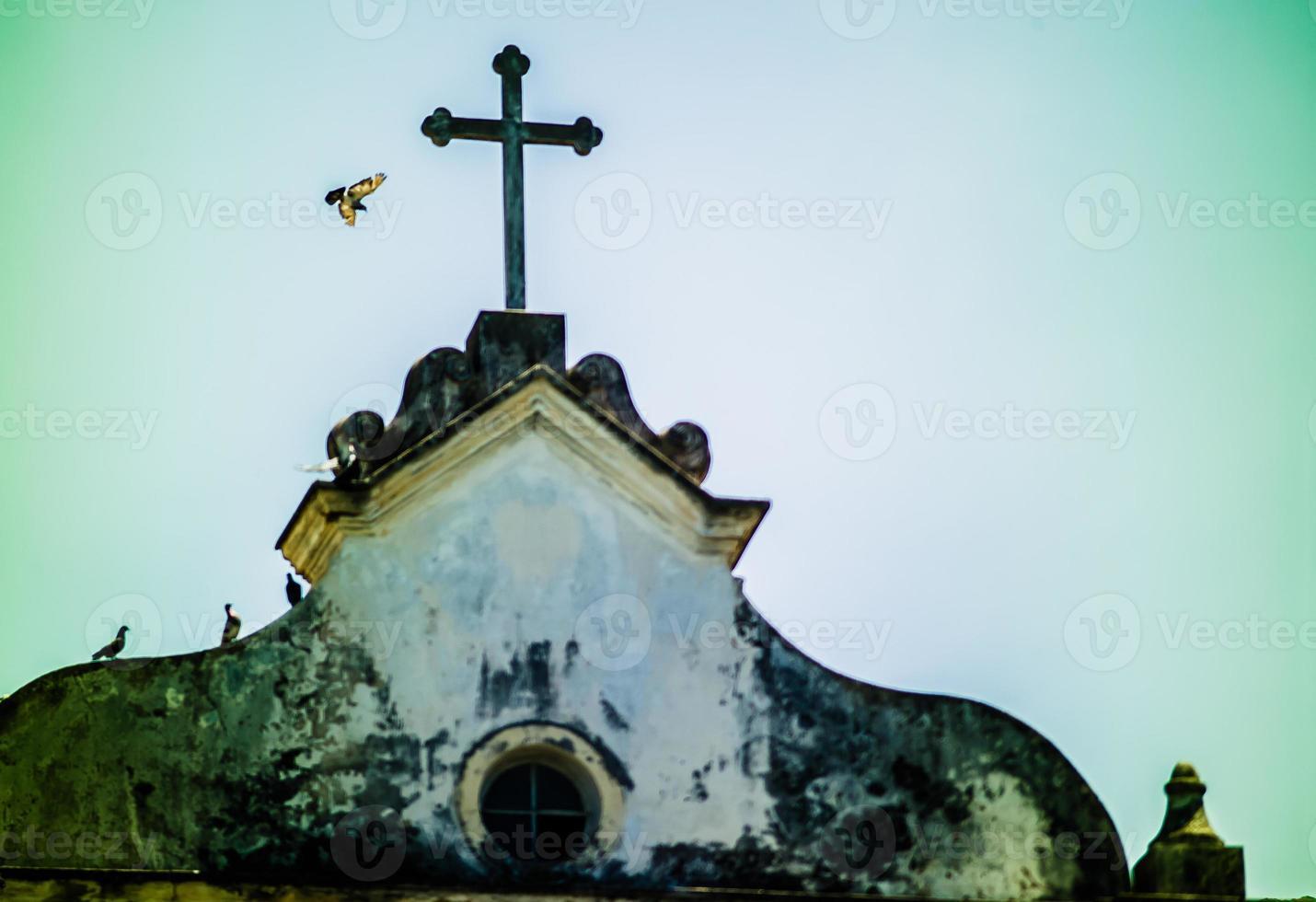detail van de gevel van de kerk van são francisco. foto