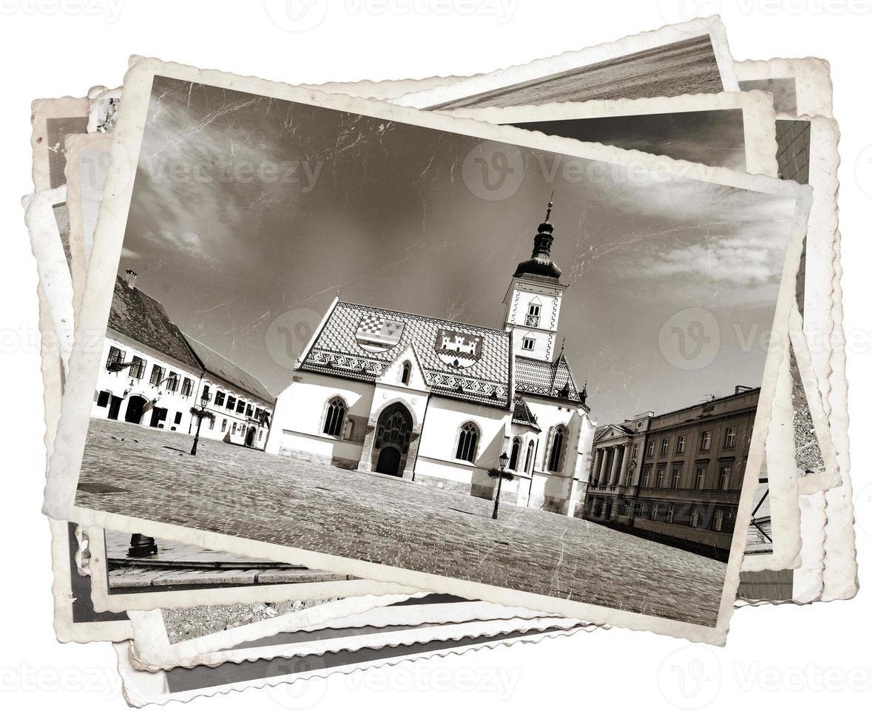 vintage foto st. mark 'kerk zagreb