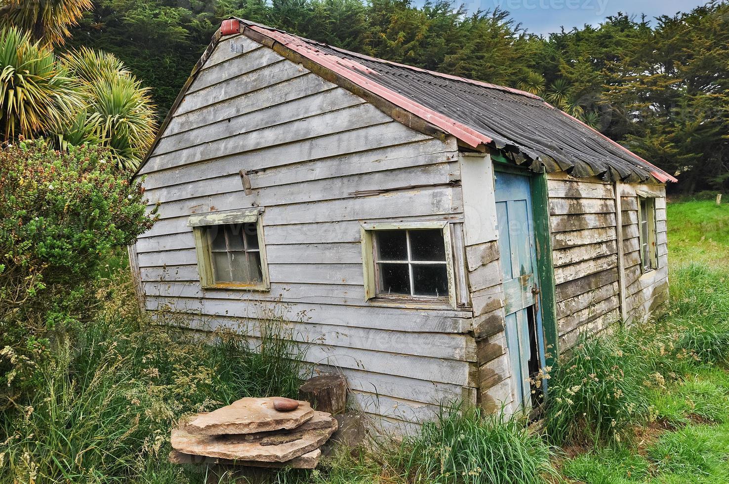 oude verweerde houten hut in bos foto