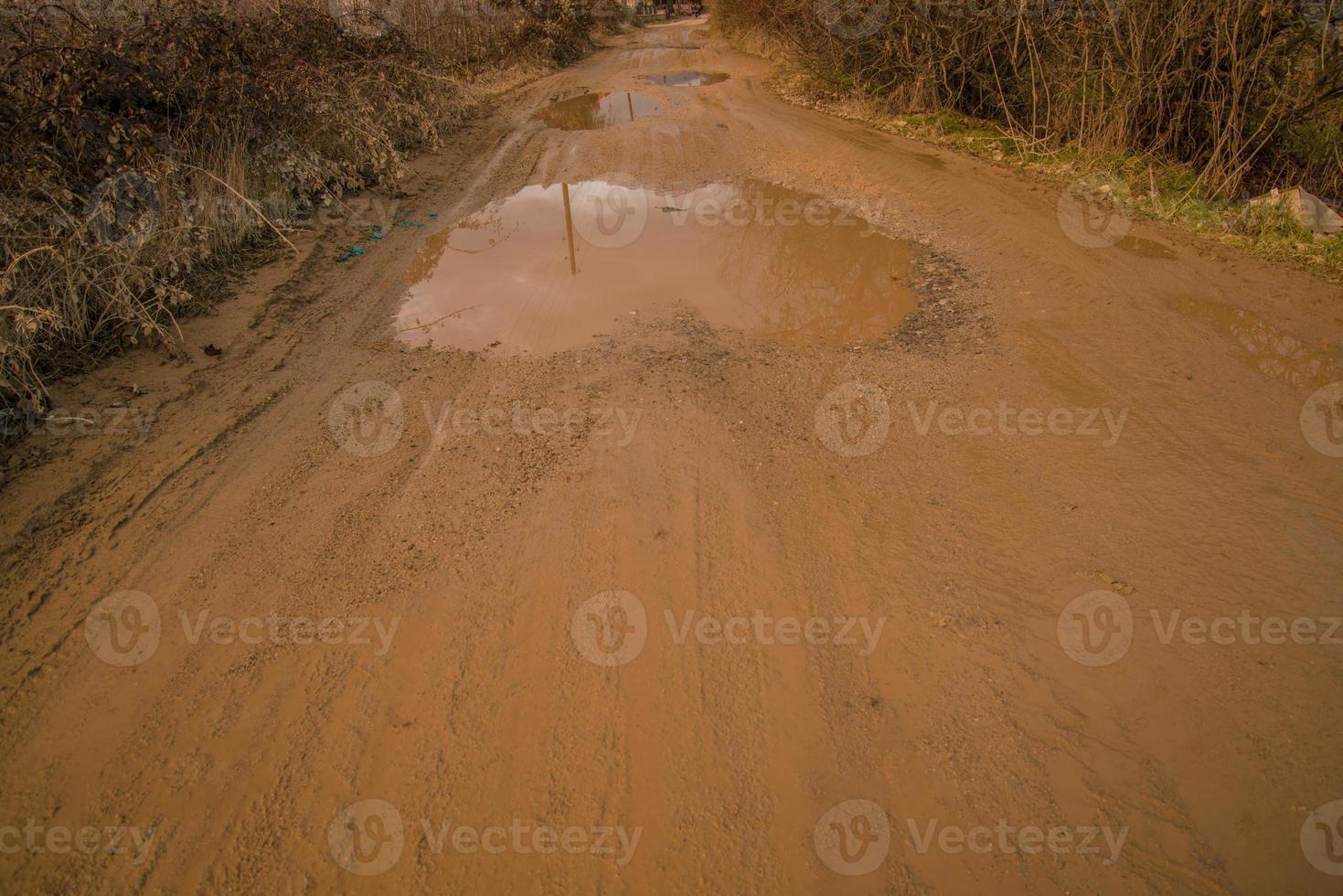 modderige industriële weg foto