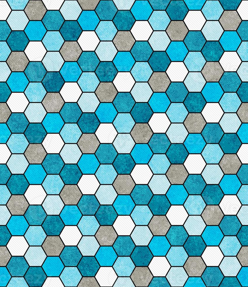 blauw, wit en grijs zeshoek mozaïek abstract geometrisch ontwerp ti foto