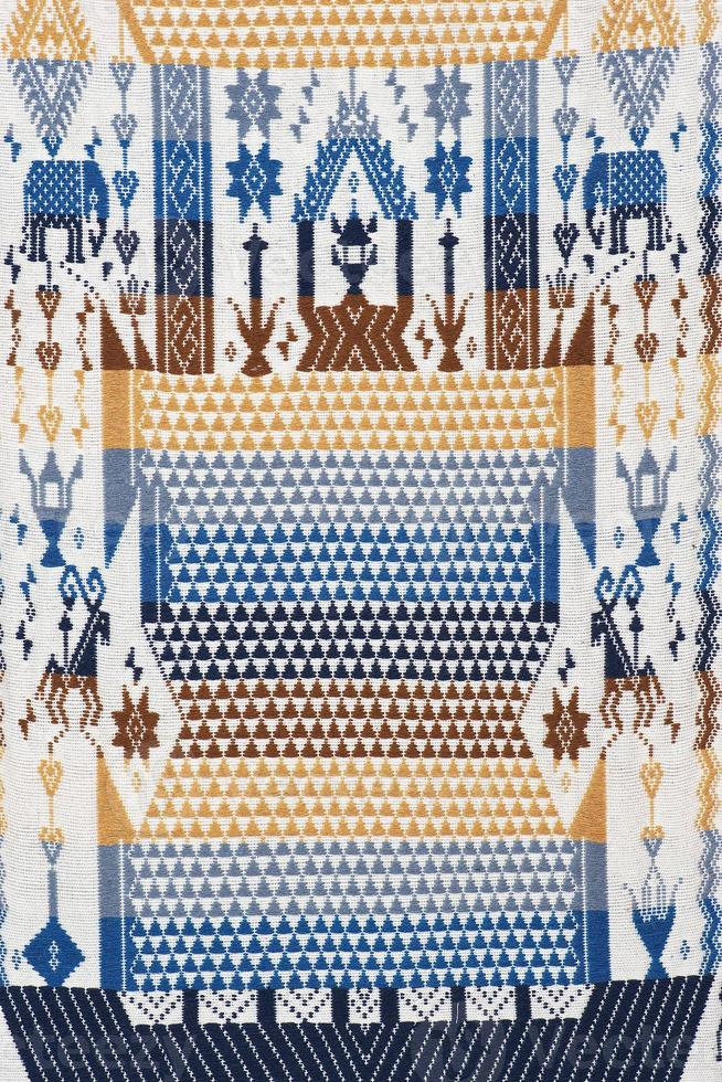 kleurrijke Thaise handgemaakte Peruaanse cutton stijl tapijt oppervlak close-up foto