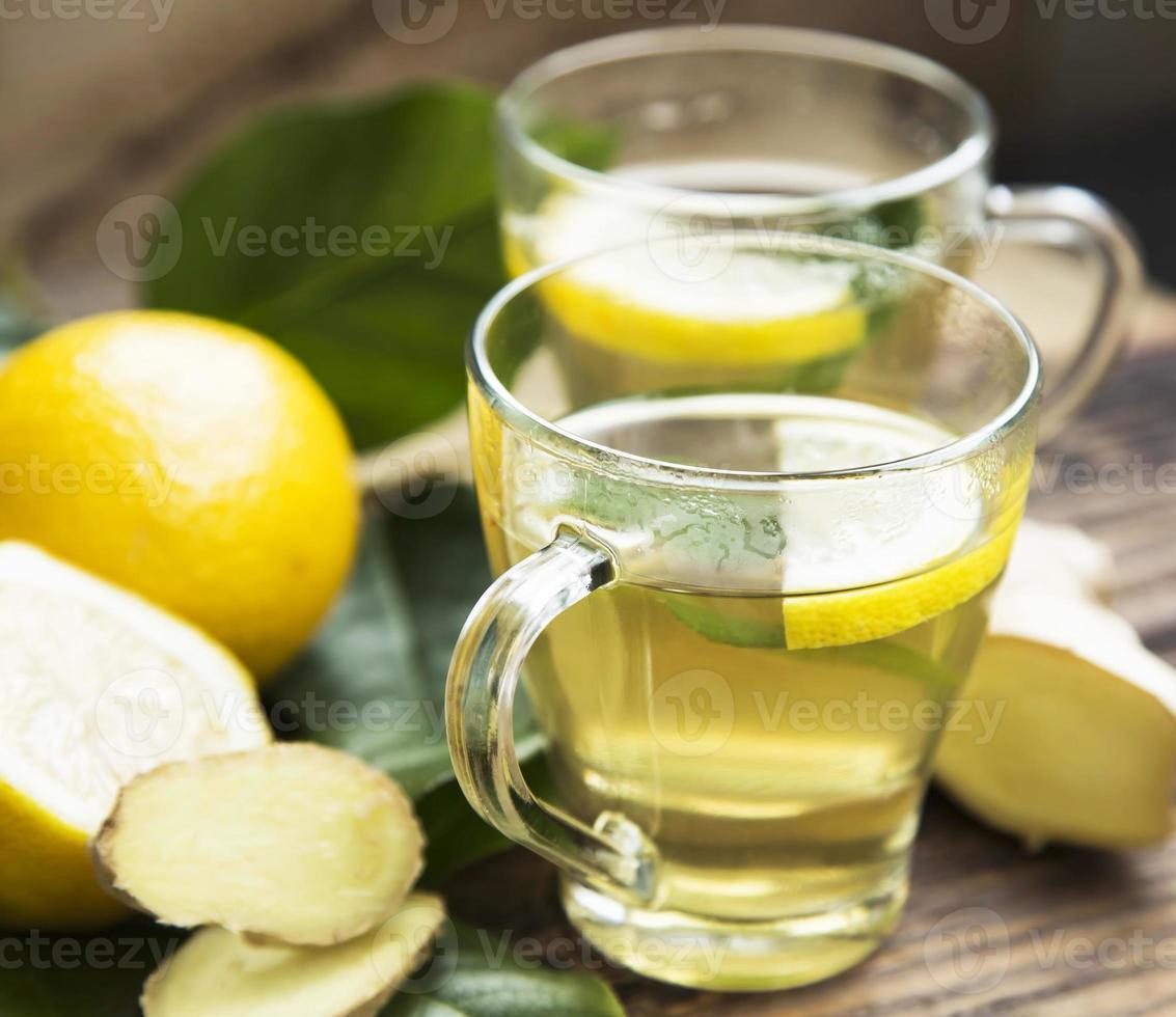 groene thee met citroen foto