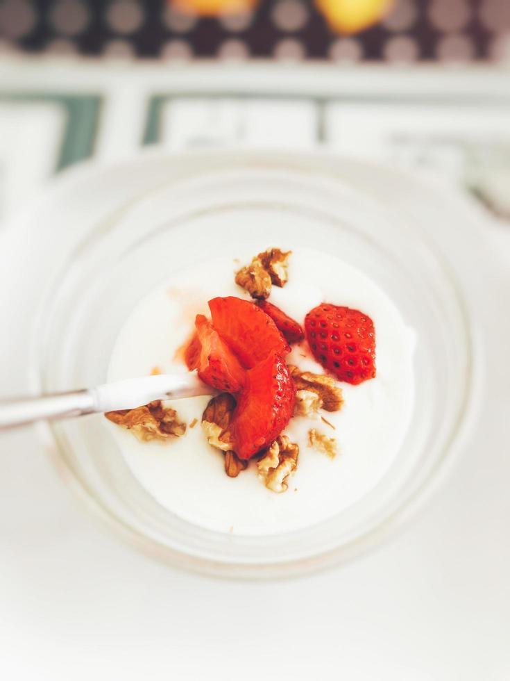aardbei fruit parfait foto