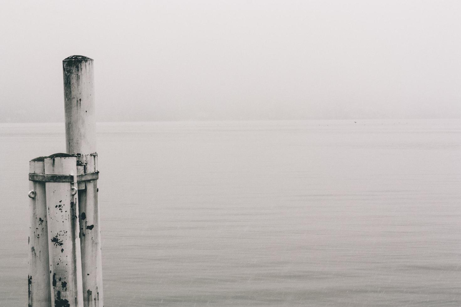 witte houten paal op zeewater foto