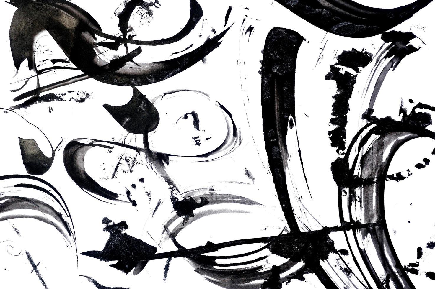 zwarte abstracte penseelstreken foto