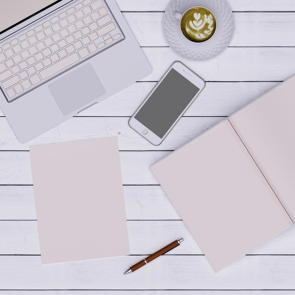 roze werkruimte foto