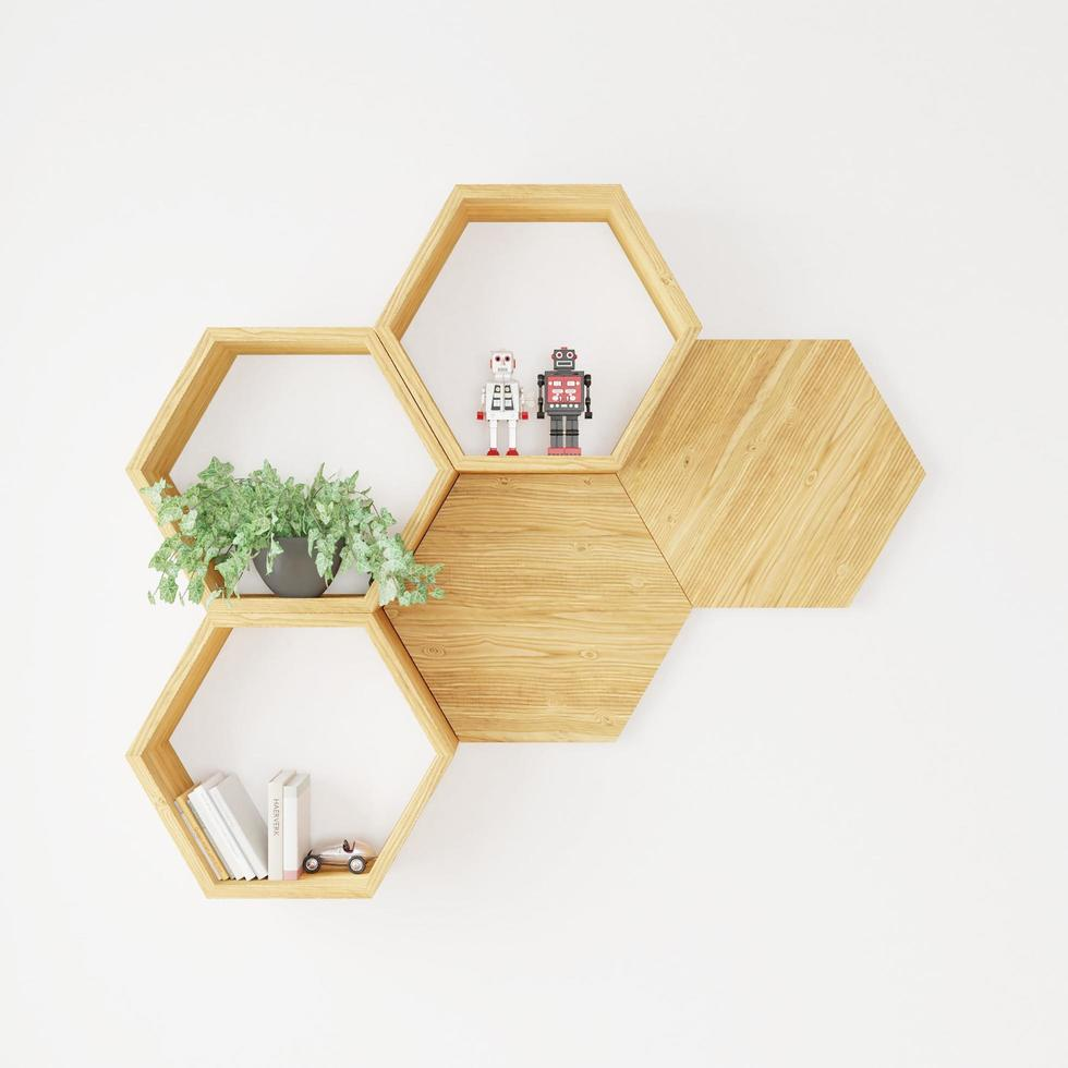 zeshoekige plank op witte muur foto