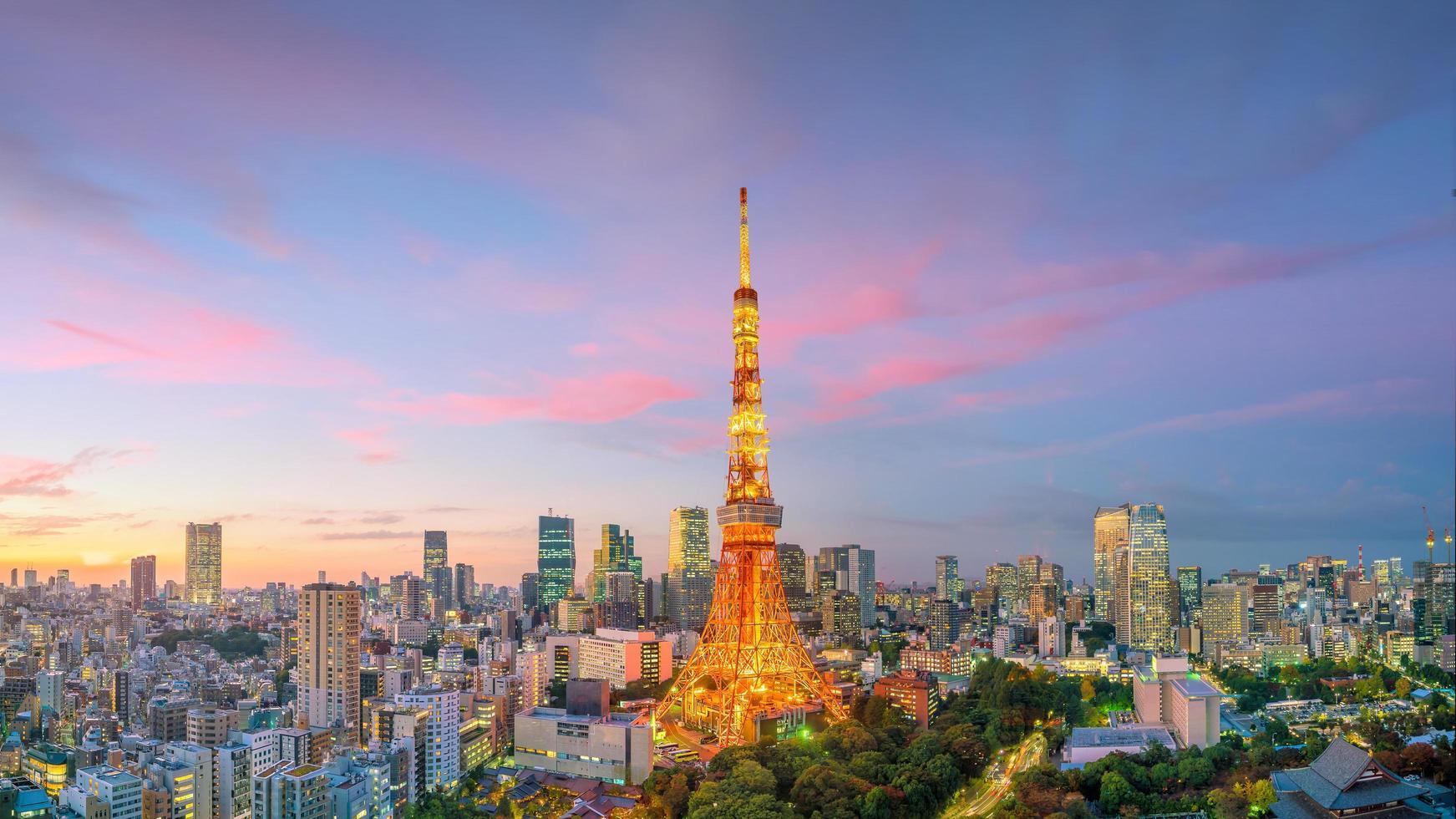 de skyline van tokyo en de toren van tokyo foto