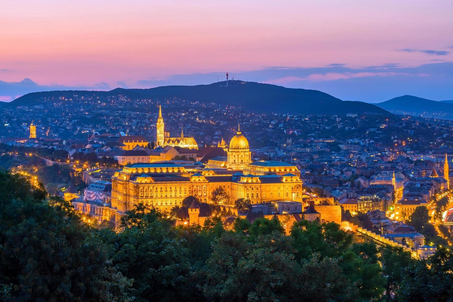 de skyline van de binnenstad van boedapest in hongarije 's nachts foto