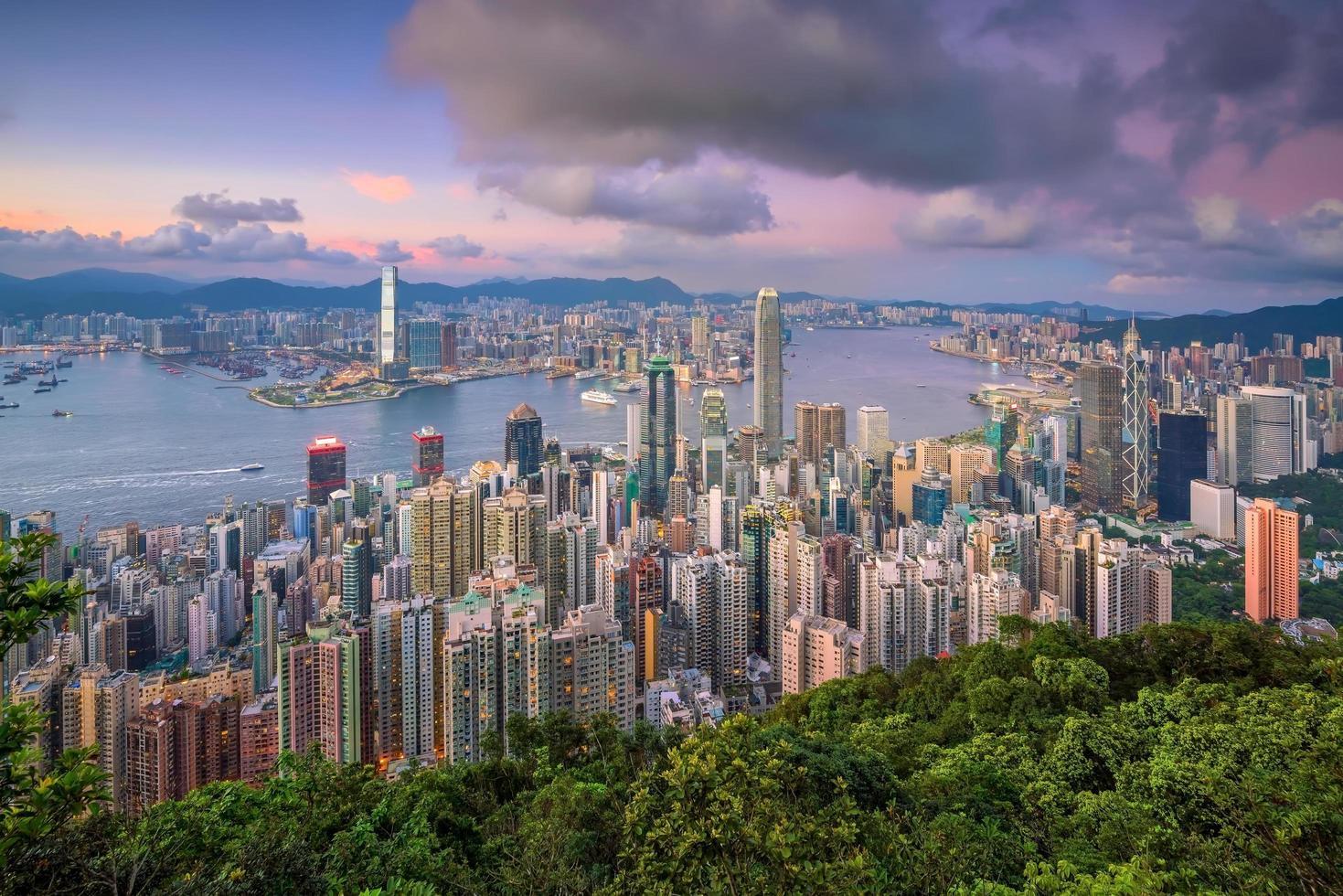 Victoria Harbor in Hong Kong foto