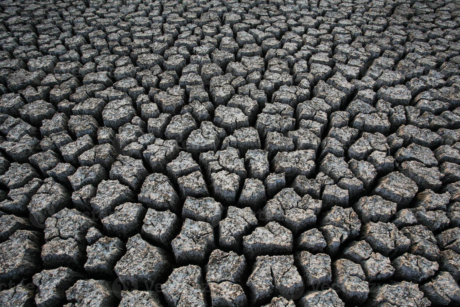 achtergrond van droog gebarsten bodemvuil foto
