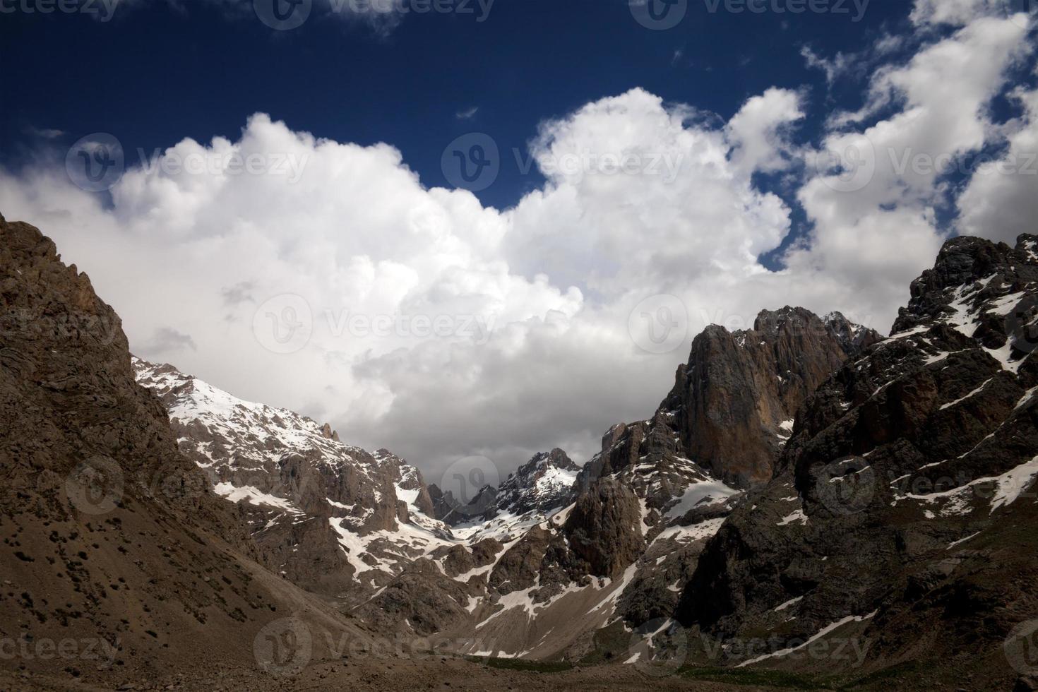 bergen en hemel met wolken foto