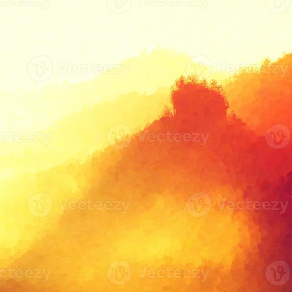 aquarel verf effect. mistig heuvelachtig landschap, ochtend foto