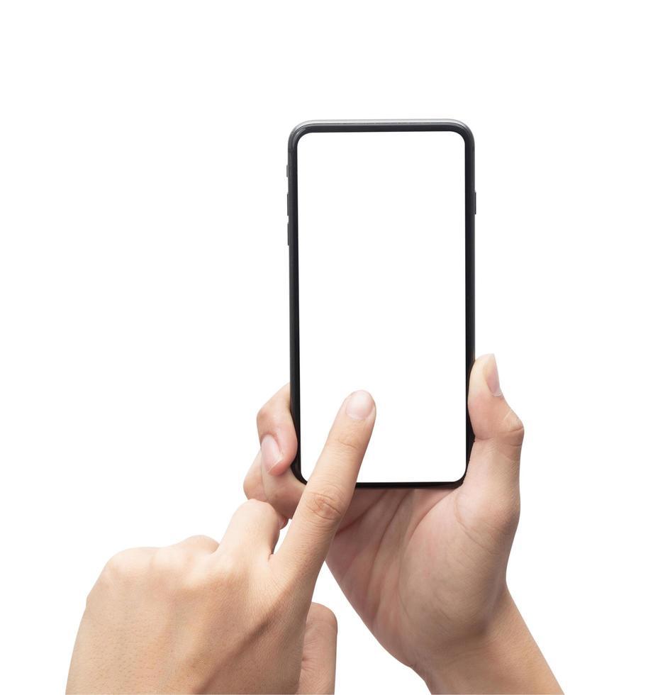 mannelijke hand met de zwarte smartphone foto