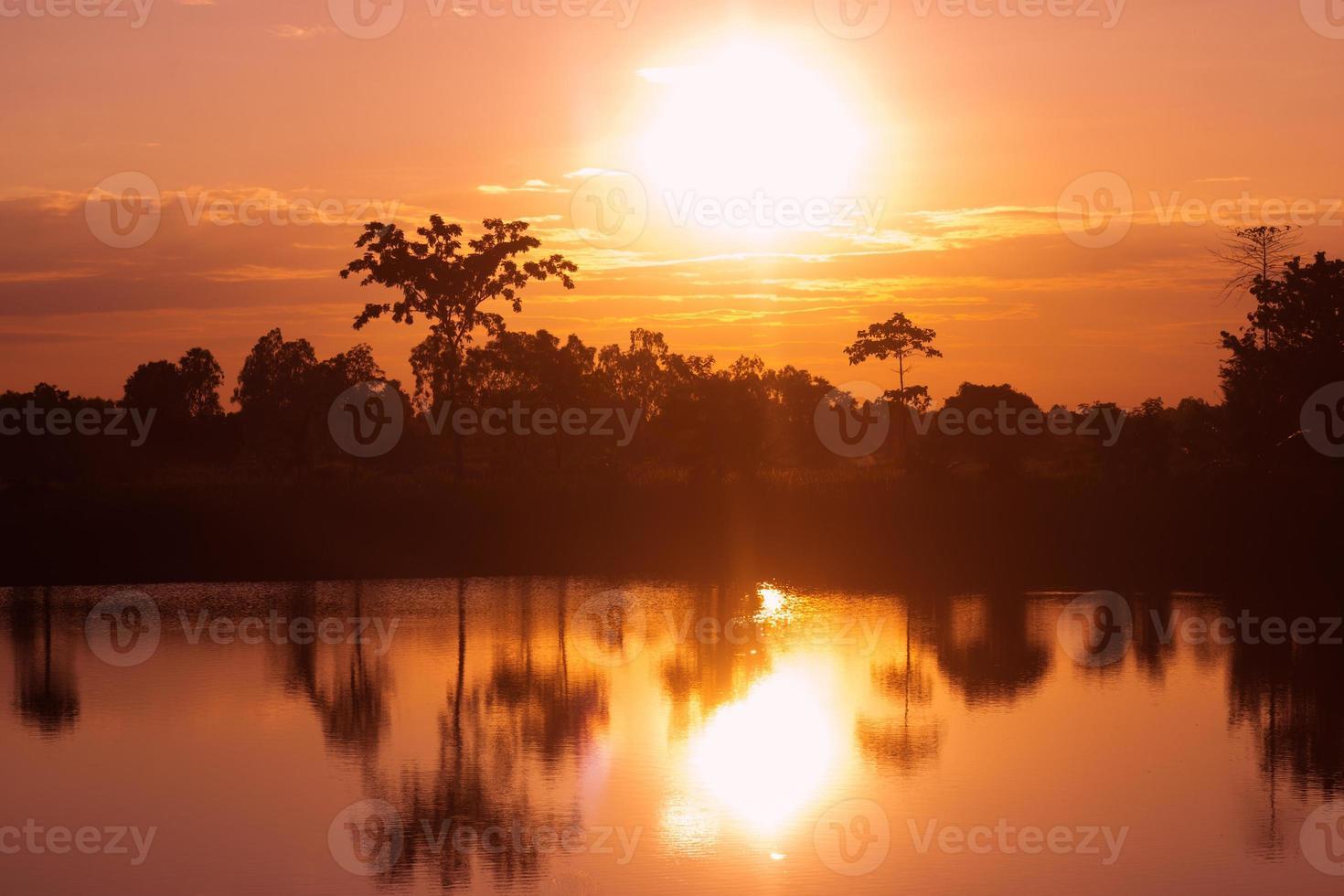 bomen silhouet met avondrood in de buurt van de rivier foto