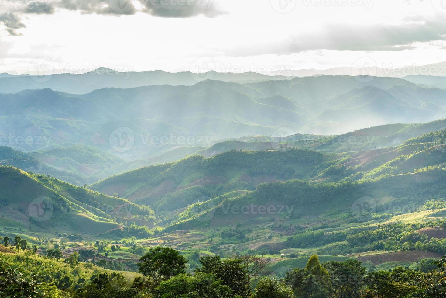 zomer bergen groen gras en blauwe hemel landschap foto