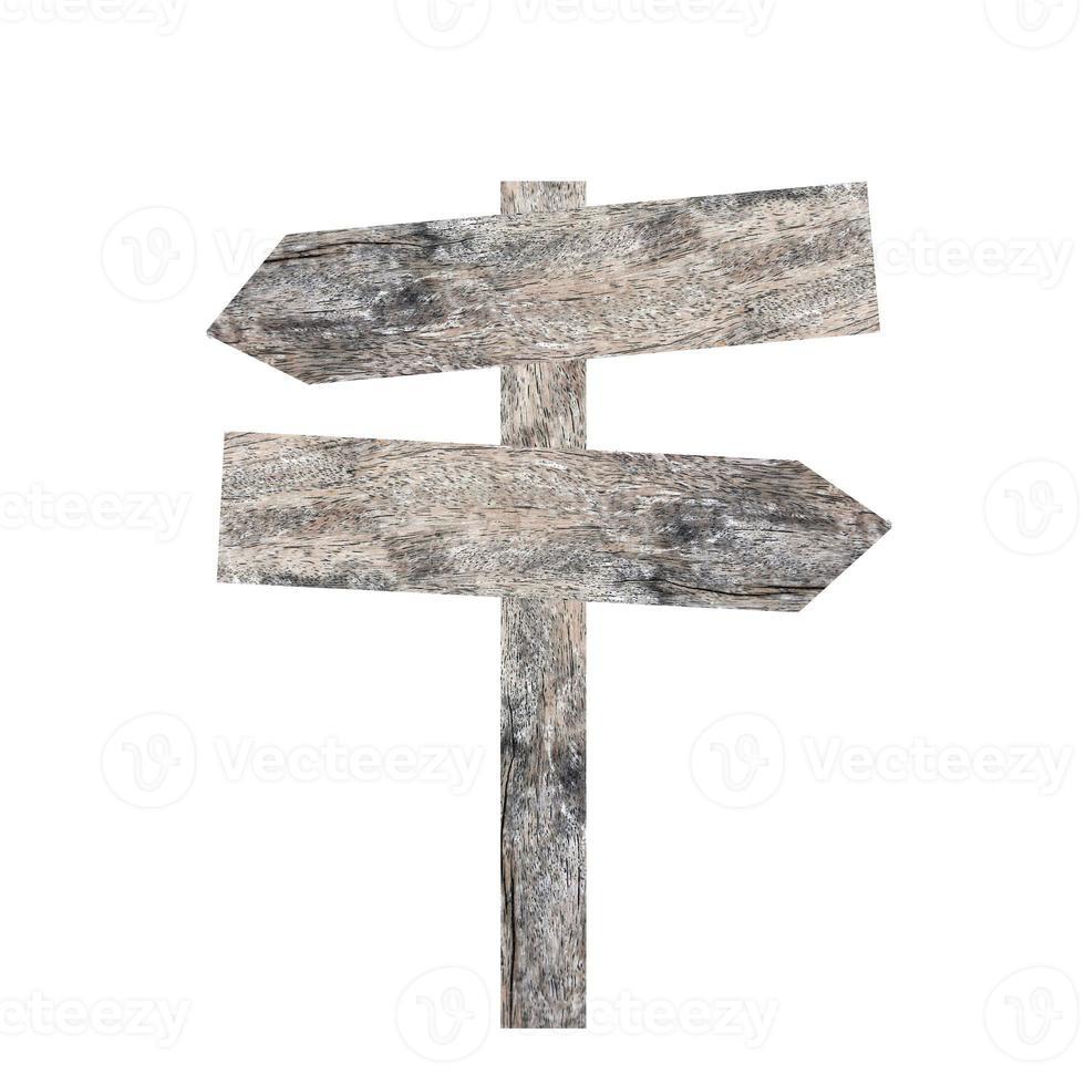 oude houten bord op wit wordt geïsoleerd. foto