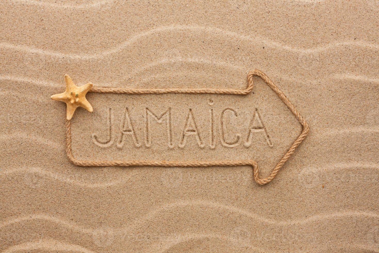 pijl touw met het woord jamaica foto