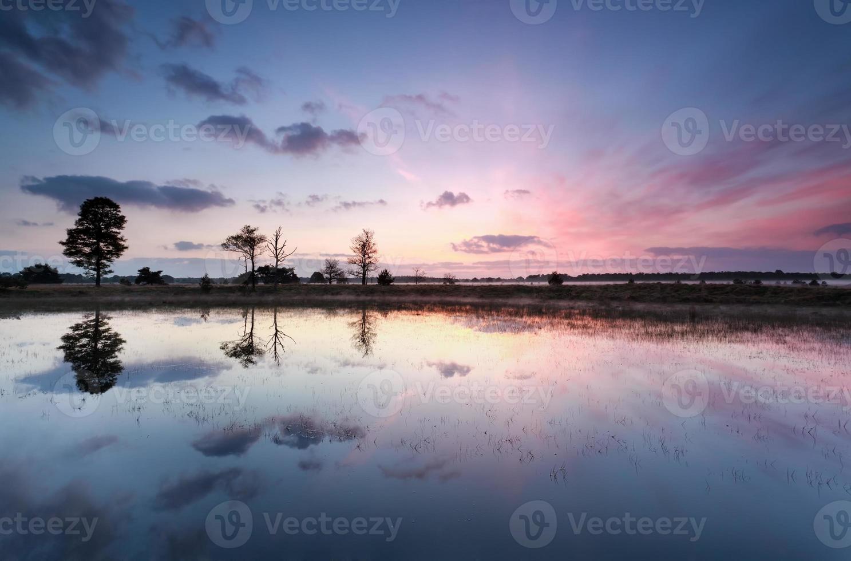 paarse zonsopgang reflecties in meer foto