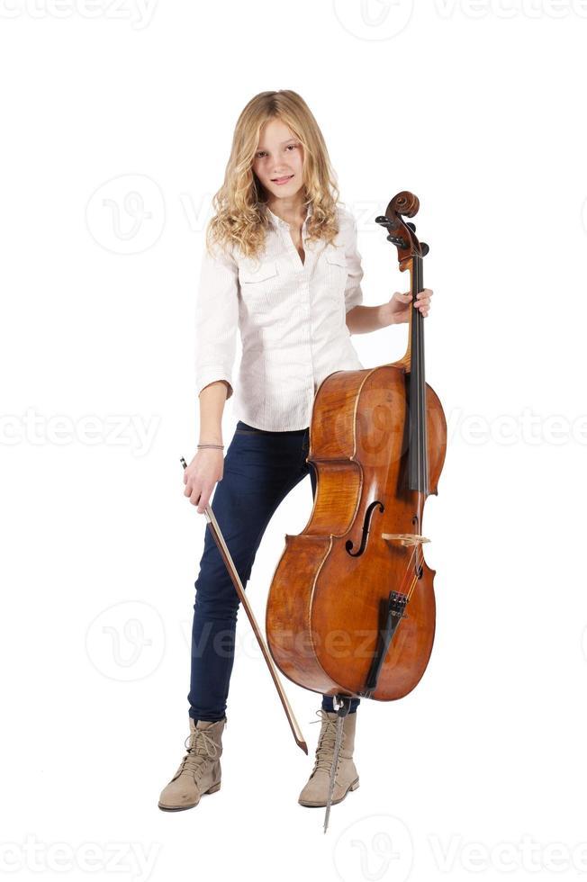 meisje met cello foto