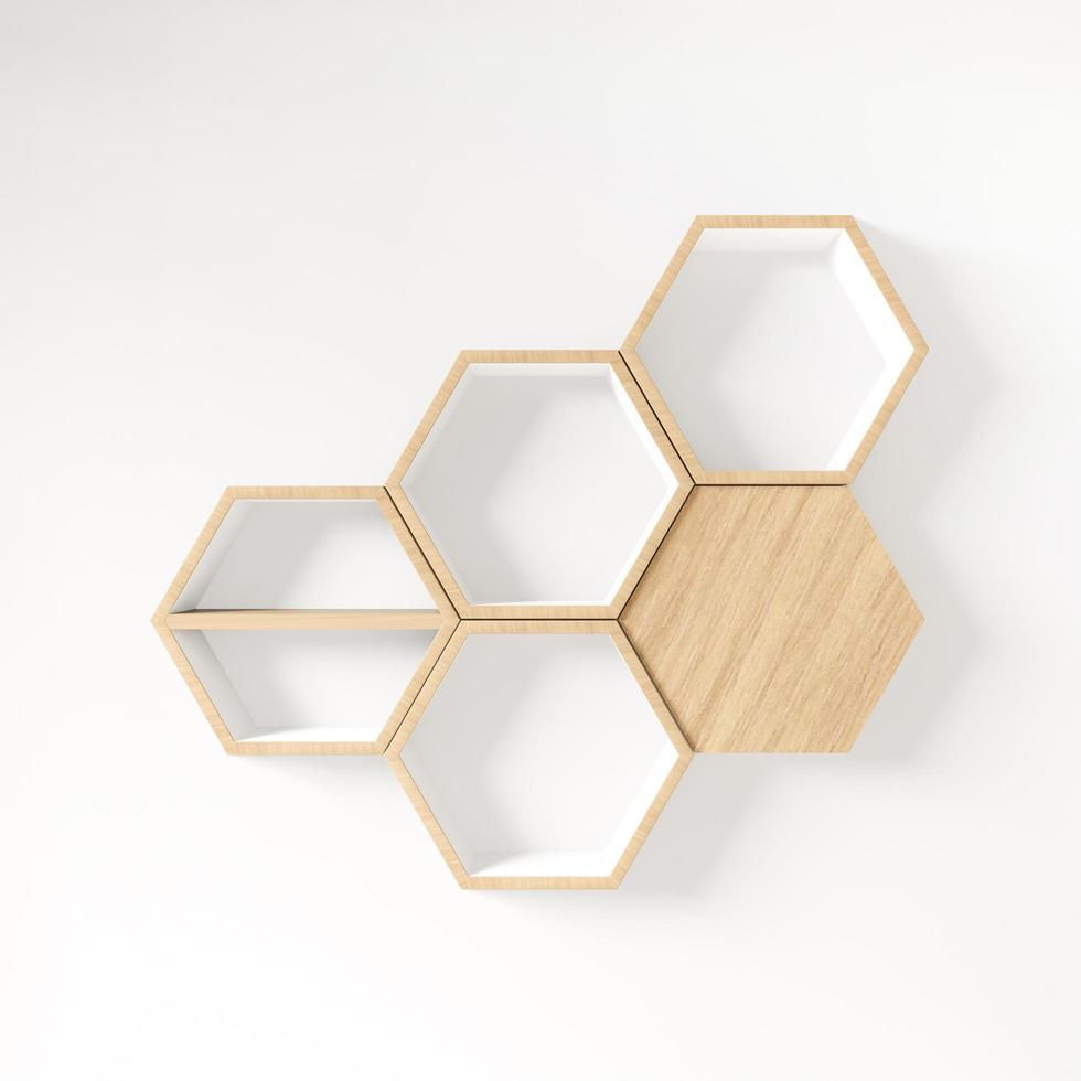 zeshoekige 3D-plank met kopie ruimte foto