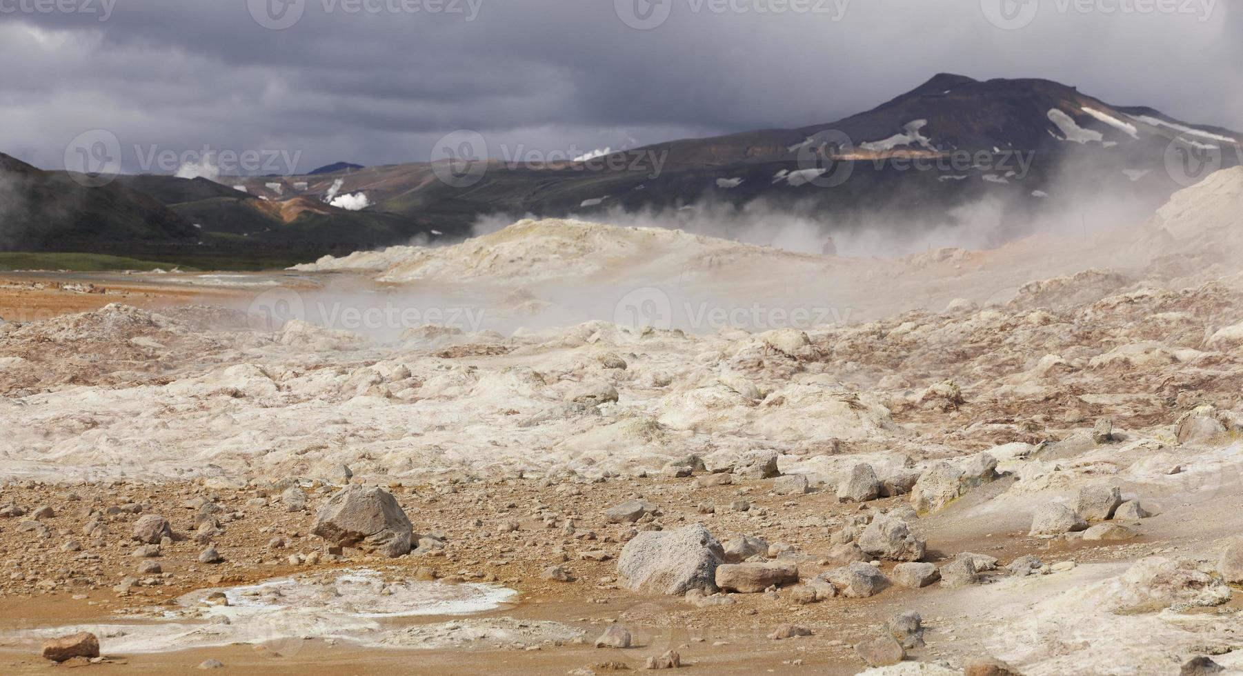 IJsland. krafla. actieve vulkanische zone. hete vulkanische rotsen. foto