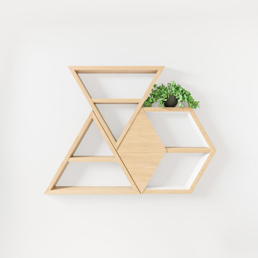 zeshoekige en driehoekige boekenplanken en plantendecoratie foto