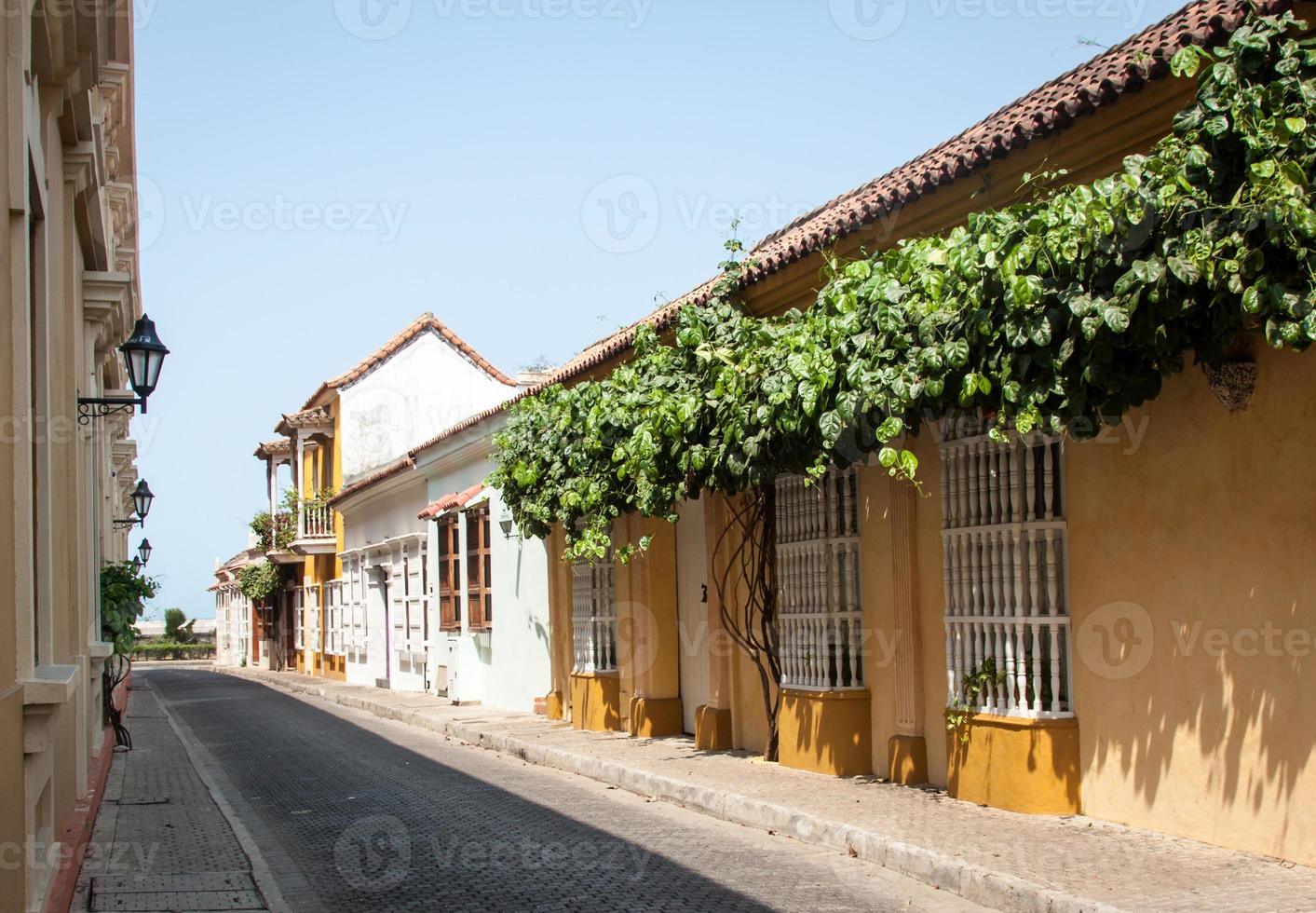 zijstraat in Cartagena, Colombia foto